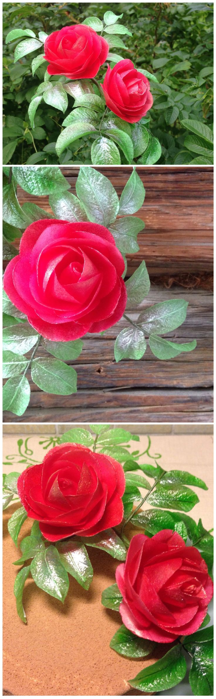 Red roses (wafer paper)