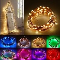 Wish | 10M 33ft Copper Wire 100 LED String Lights, 3 AA Battery Powered Decoration LED Starry Light For Christmas Wedding and Party