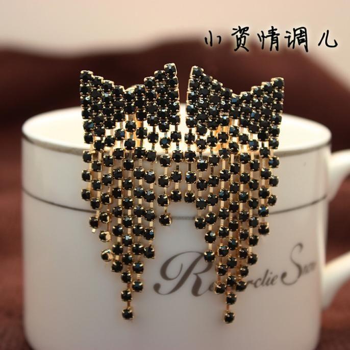 Мода пр черный кристалл супер долго кисточкой серьги для женщин прекрасно свадебные украшения форма носа большие серьги brincos купить на AliExpress