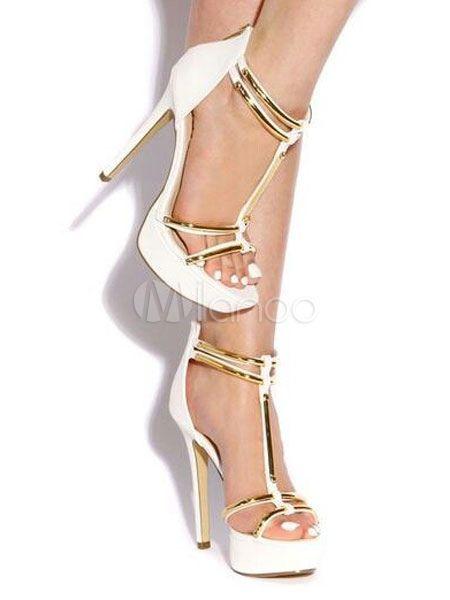 Frauen Schuhe Weiß High Heel Sandalen Plattform Open Toe T Typ Sandale Schuhe