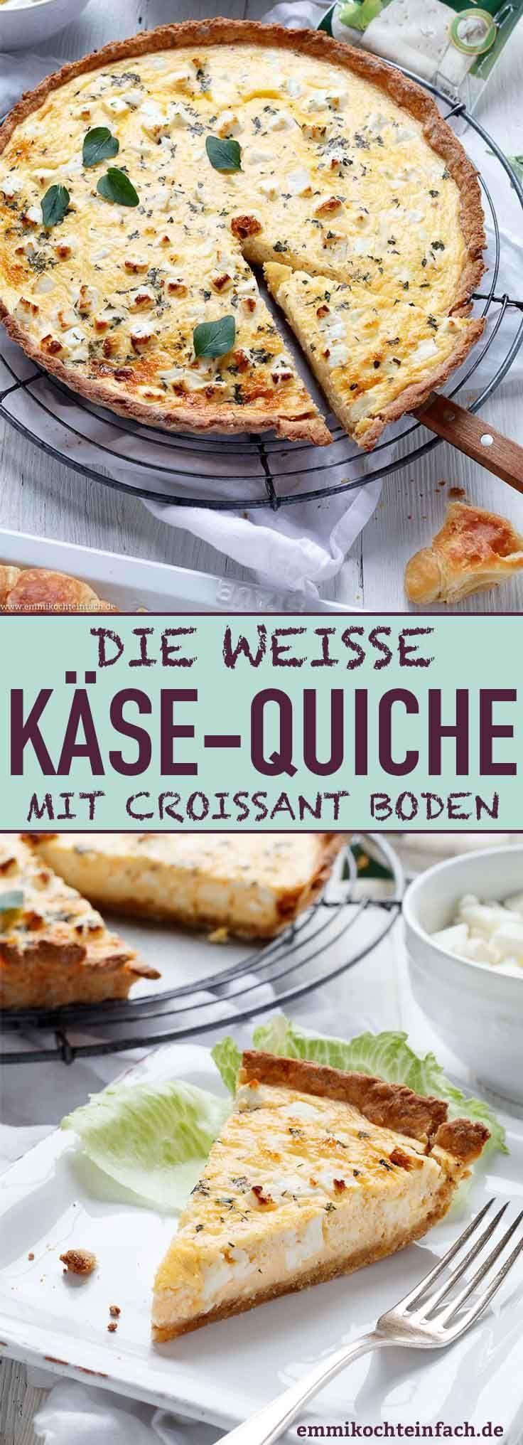 Weisse Käse-Quiche mit Croissant Boden
