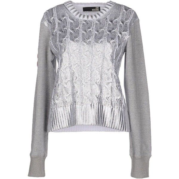 Love Moschino Jumper (€250) ❤ liked on Polyvore featuring tops, sweaters, silver, lightweight sweaters, love moschino sweater, long sleeve jumper, love moschino and long sleeve tops