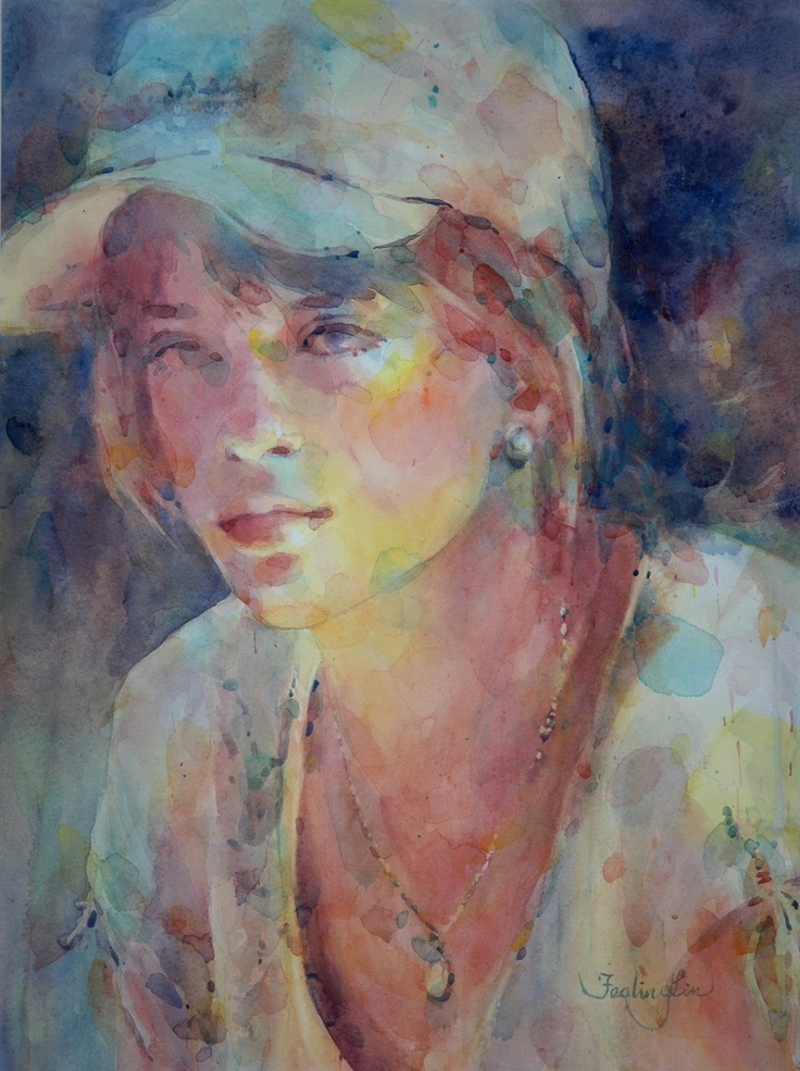 Fealing lin watercolors girl with hat people for Airbrushing mural