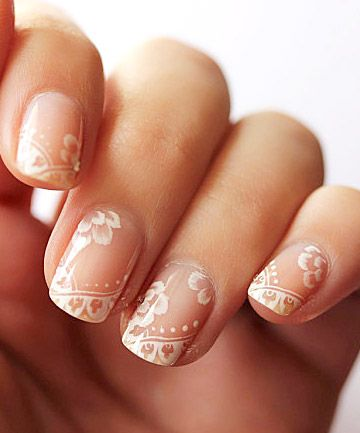 These lace nails aren't exactly DIY (unless you're my new idol), but they can be created with a thin-tipped brush and a steady hand at the nail salon. Credit: