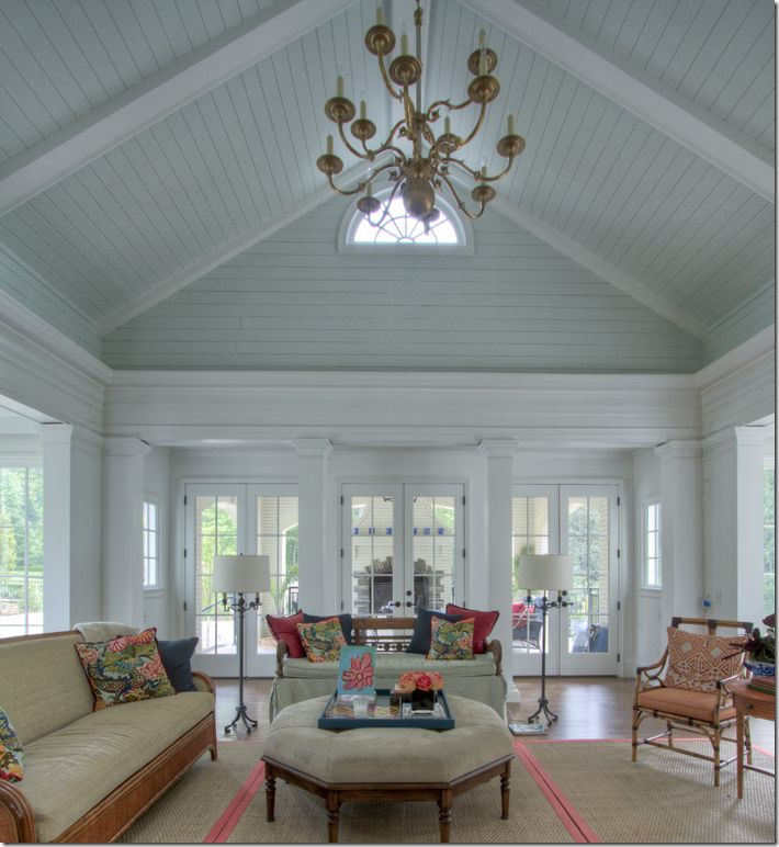 25 best ideas about blue porch ceiling on pinterest for Half vaulted ceiling with beams