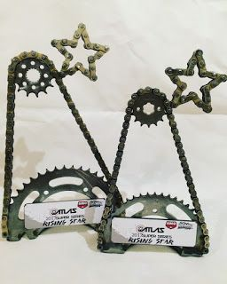 Custom trophy award handmade from used motorcycle parts