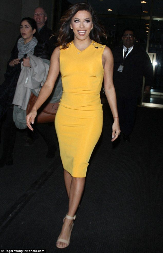Little Miss Sunshine: Eva Longoria put on a cheery display as she endured another long day...
