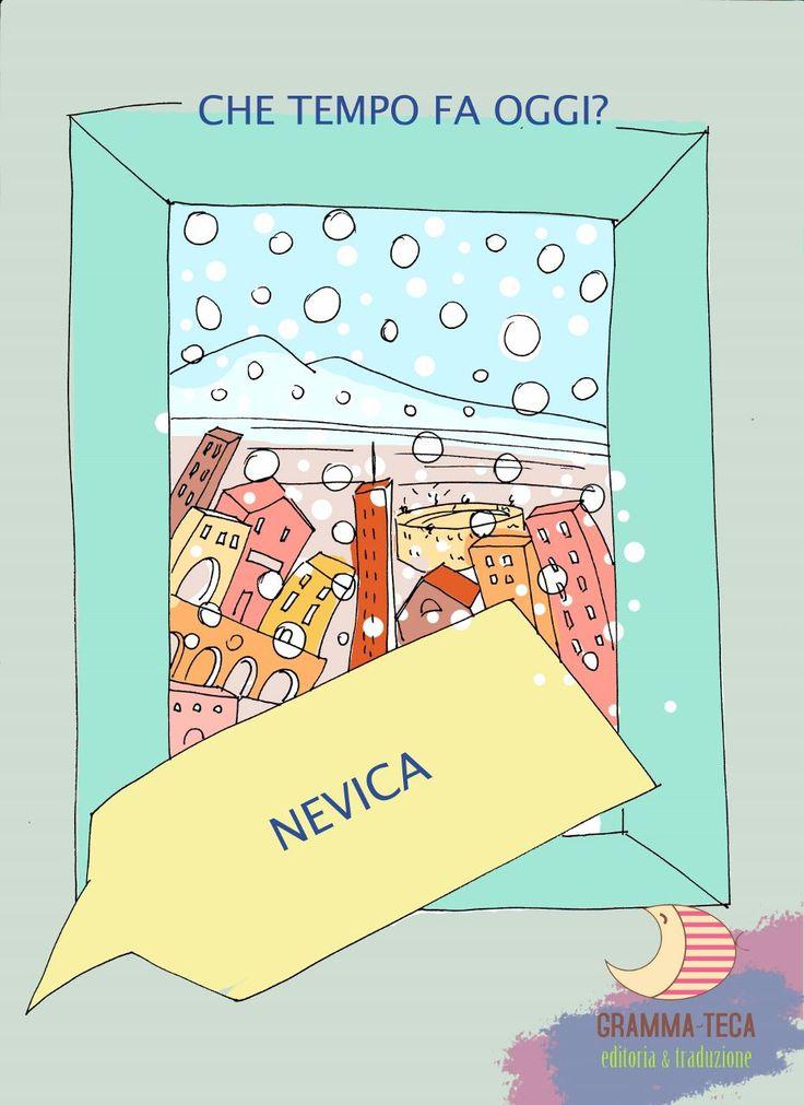 Che tempo fa oggi?  Nevica.  #italianol2 #italianols #materialedidattico  #flashcards #grammateca @Cristina Comi