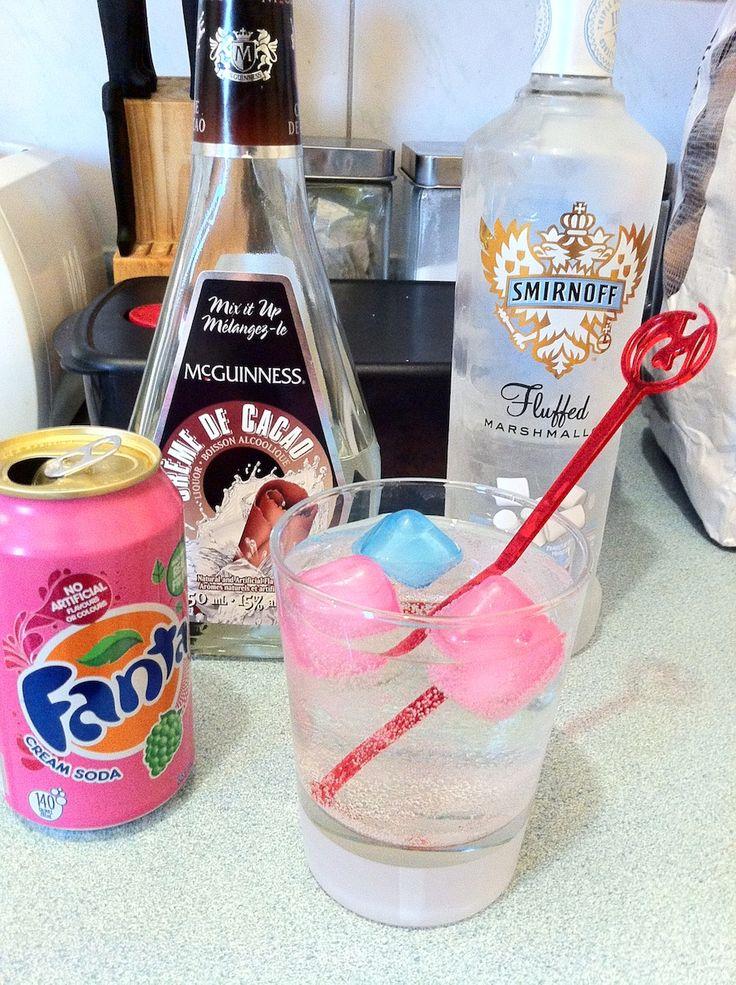 """Smirnoff S'more"".  Smirnoff Fluffed Marshmallow Vodka, Creme de Cacao and Fanta Cream Soda"