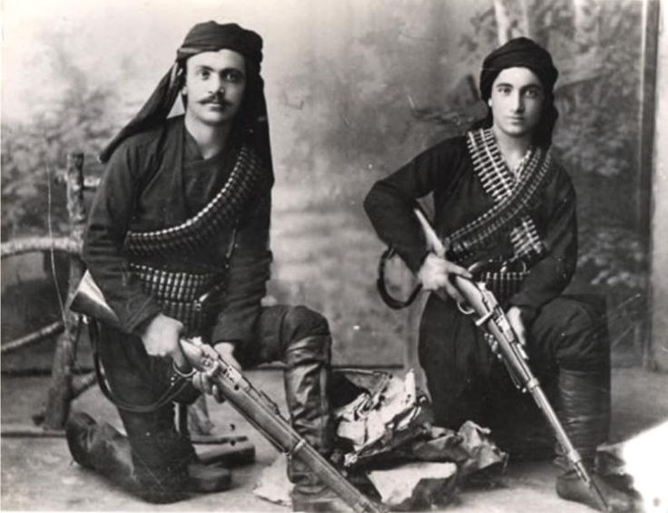 Greek fighters--perhaps blackshirts. Despite daunting odds, Greek rebels are fierce.