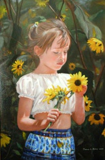 Thomas Baker (American)..Mary Among The Sunflowers