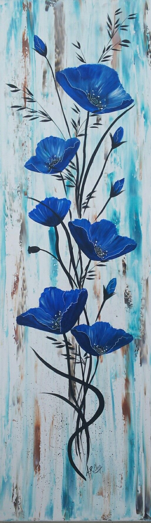 """In blue 3""  Peinture acrylique sur toile 30x80  By Raffin Christine  Facebook : L'étoile de Chris"