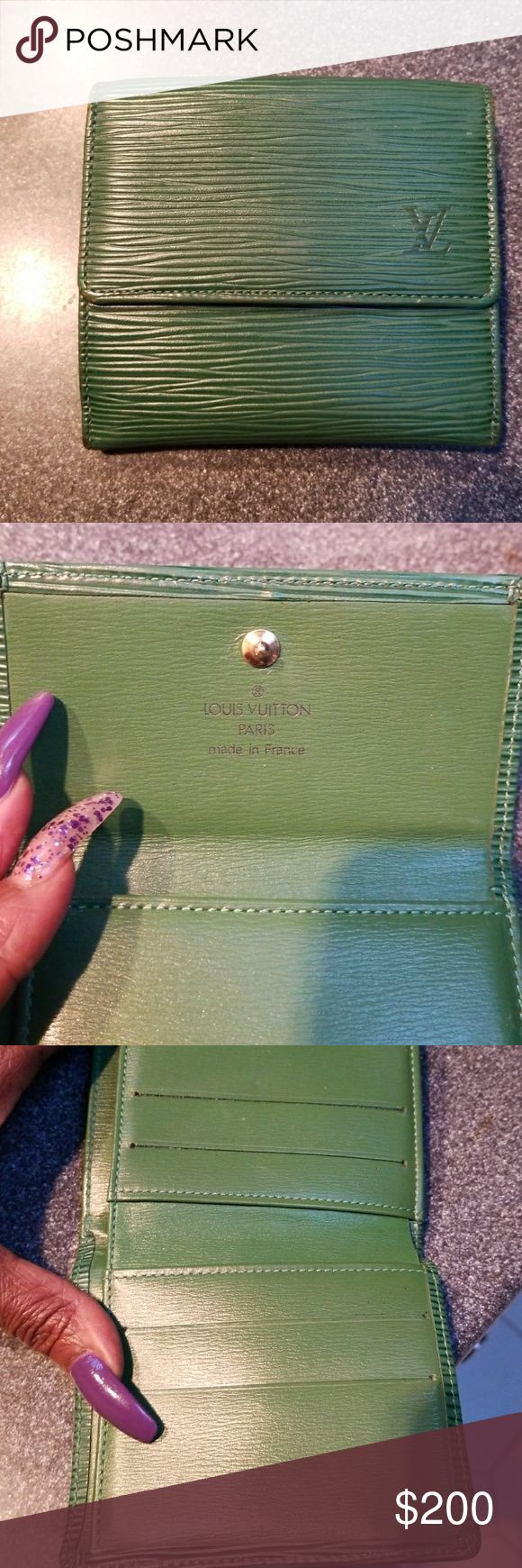 Authentic epi wallet Louis vuition epi wallet in green with datecode(trade price higher)regular wear on corners no tears or rips Louis Vuitton Bags Wallets