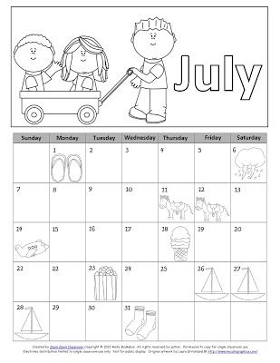 Free! July 2013 calendar concepts packet. Includes blank calendar, partially numbered calendar, image calendar (shown) and question sheets with image key.  Aligned with Common Core State standards for first grade.