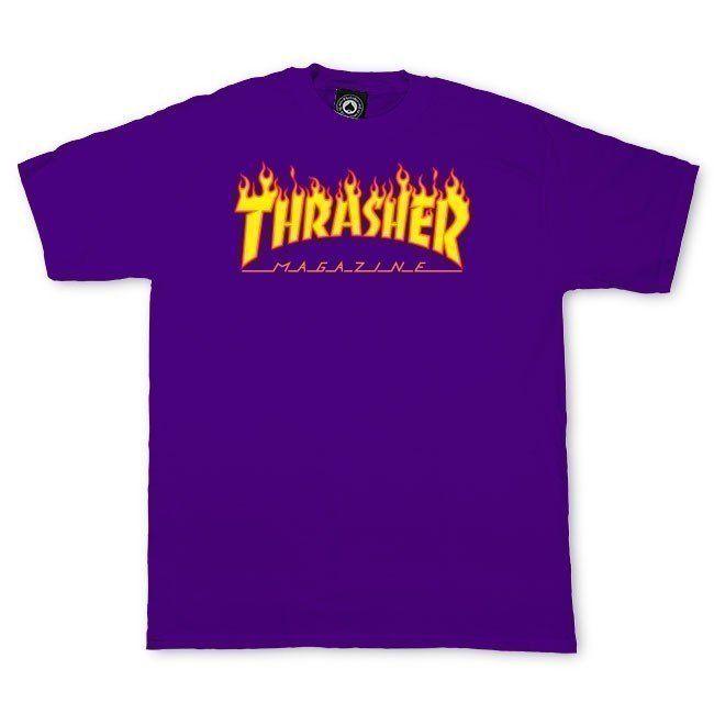 "THRASHER Magazine /""Scorched Outline/"" Flame Logo Black Mens T-Shirt"
