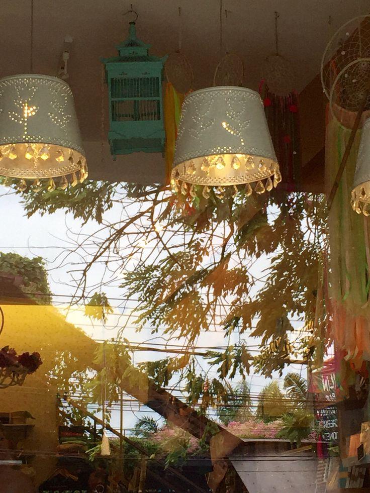 Pressed metal lamps up close.  From My Cup of Tea, Seminyak, Bali