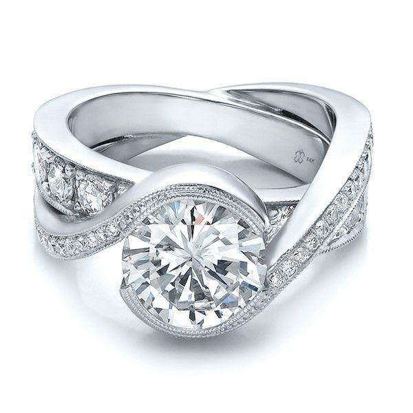 Popular Custom Interlocking Diamond Engagement Ring