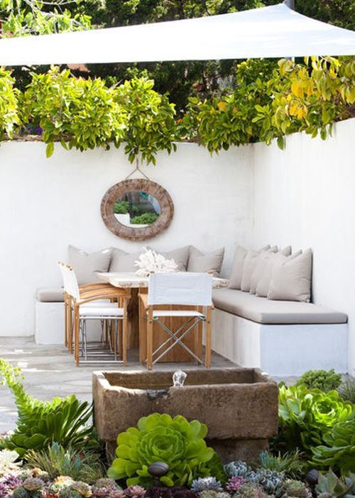 for our corner patio: love the idea of corner bench seating with option to add table and chairs for dining or move 'em away and watch the kids play