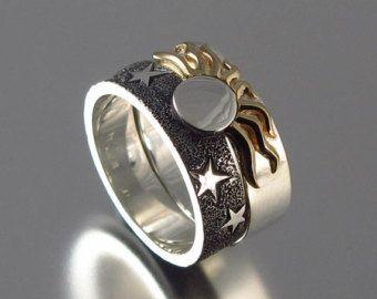 El sol y Luna ECLIPSE anillo de compromiso conjunto por WingedLion