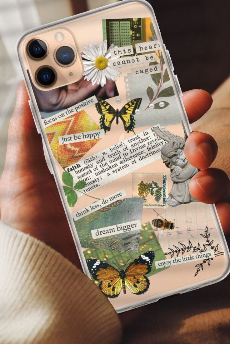Aesthetic collage clear phone case for iphone 12 mini 11