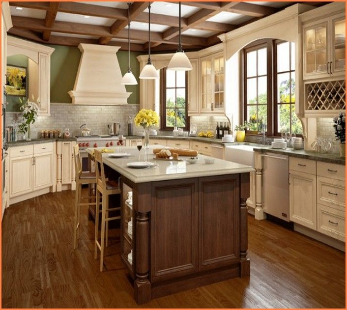 Glazed White Kitchen Cabinets: Small House Interior Design
