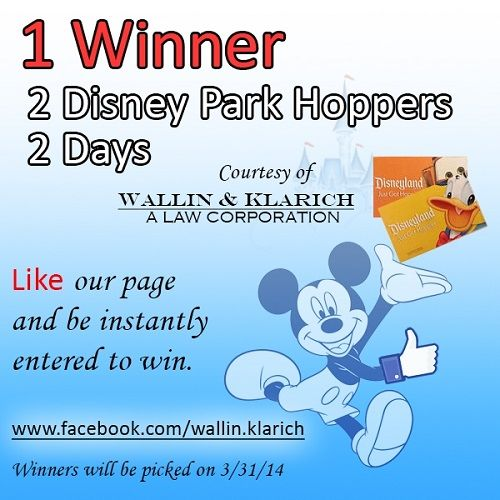 Win 2 Disneyland park hoppers tickets just by liking Wallin & Klarich on Facebook! Enter here: https://www.facebook.com/wallin.klarich/app_228910107186452  #Disneyland #Disney #Giveaway #wklaw