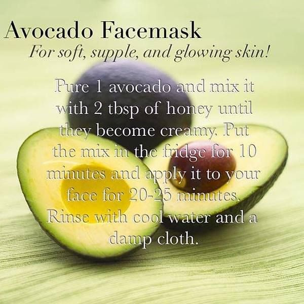 Avocados are a great source of antioxidant carotenoids, it's an amazing treatment that help reduce wrinkles, and contains good amounts of vitamin C and E for a healthy skin!