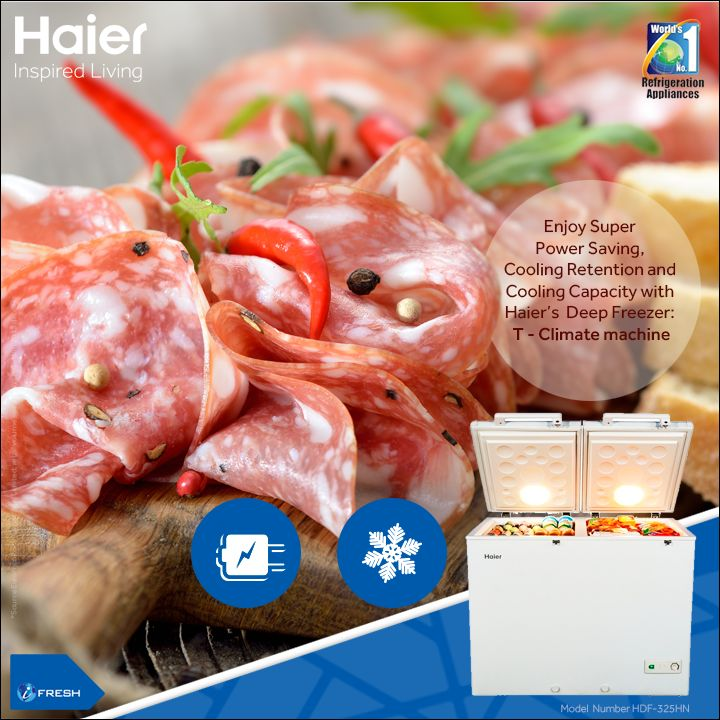 #Haier #DeepFreezer's T - Climate machine is ideally suited for Indian climatic condition and you can also enjoy high cooling retention or attain desired temperatures at lesser time. #Technology #Appliance #HaierIndia #InspiredLiving #CommercialFreezer
