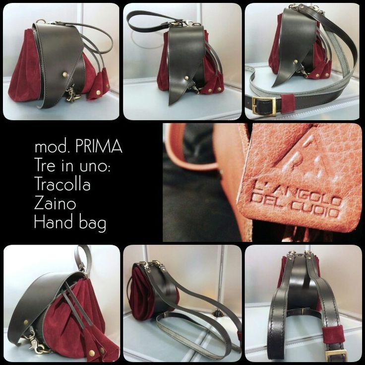 Si può usare come Hand Bag, tracolla semplice o trasformarla in un pratico zaino  grazie ad un semplice sistema di ganci!