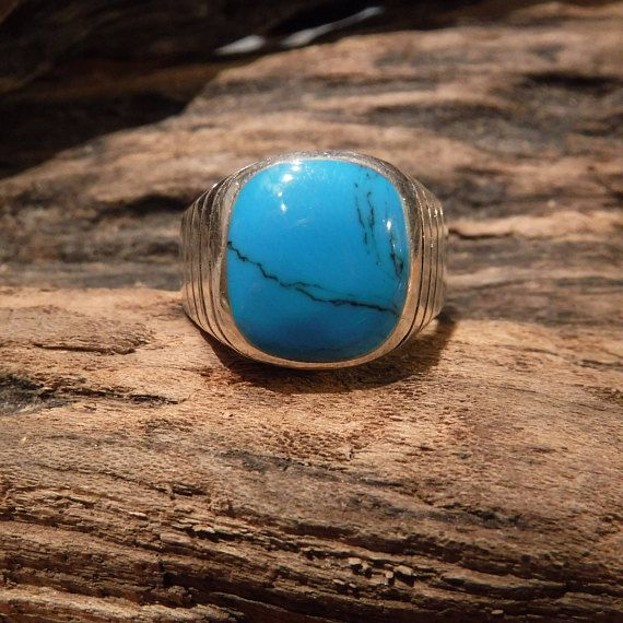 Large mens ring Mexico Sterling Silver Mens Turquoise Ring