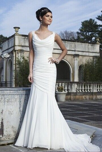 Chiffon Wedding Dresses Sexy Crisscross Back Button Scoop Neck Ruched Bridal Gown