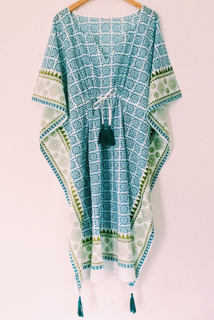 Long beach kaftans in gorgeous hand block printed motifs. Shop online at www.chantekbyfarisha.com