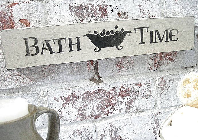 Painted  Bath Time  Shabby Chic Plaque. 28 best shabby signs images on Pinterest   Wooden signs  Pallets