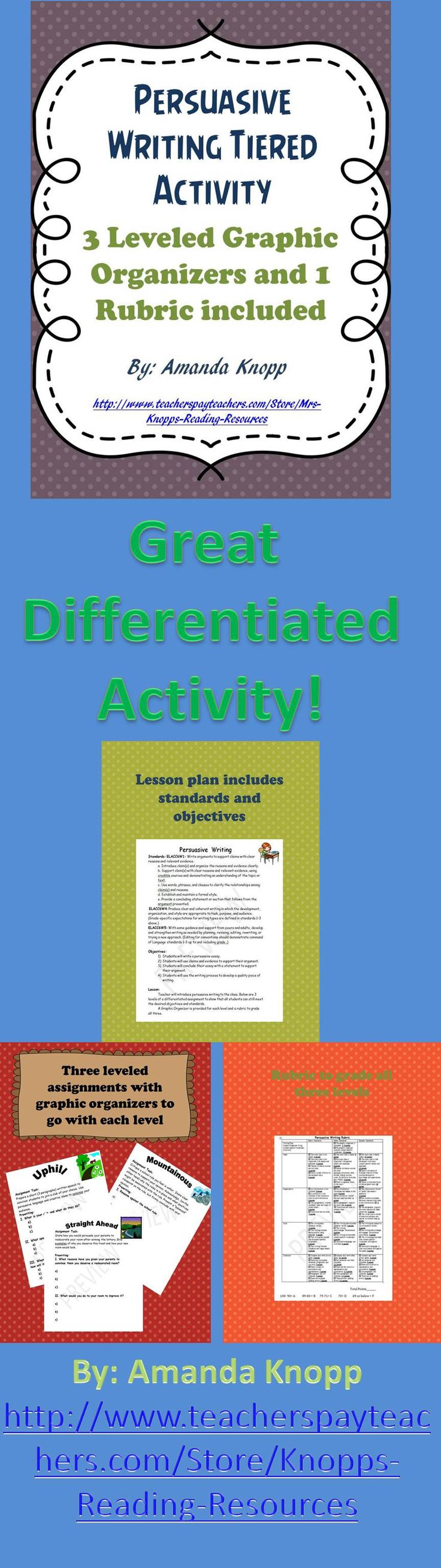 Tiered activity writing a persuasive essay