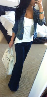 simple and pretty: Casual Friday, Jeans Jackets, Casual Day Outfits, White Shirts, Cute Outfits, Denim Jackets, Wide Legs, Widelegs, Trousers Jeans