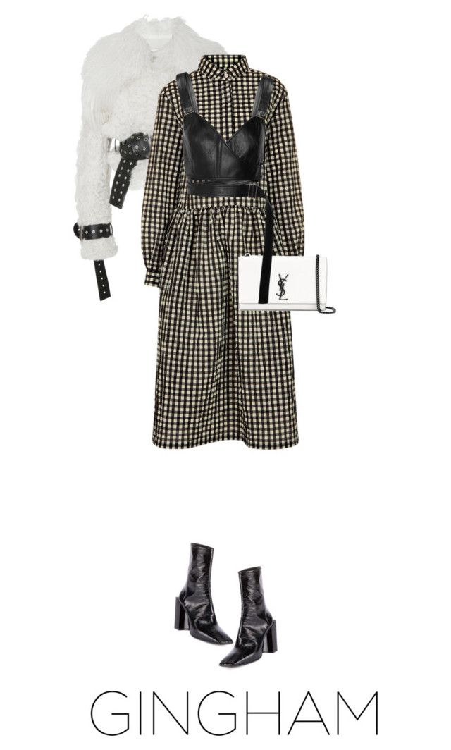 """""""165/365: Gingham Dress"""" by lizzyzi ❤ liked on Polyvore featuring Monse, Shrimps, Balenciaga, Yves Saint Laurent and Calvin Klein Collection"""
