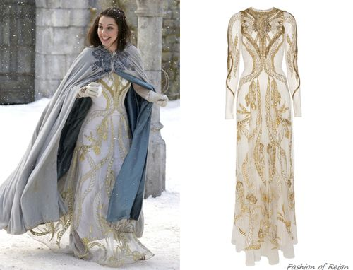 In the nineteenth episode Mary looks angelic in this sold out Temperley London Aya Show Long Dress in white/gold. In the sixteenth episode she was wearing the Temperley Aya Show Top in black/gold. Worn with Reign Costumes custom gloves.