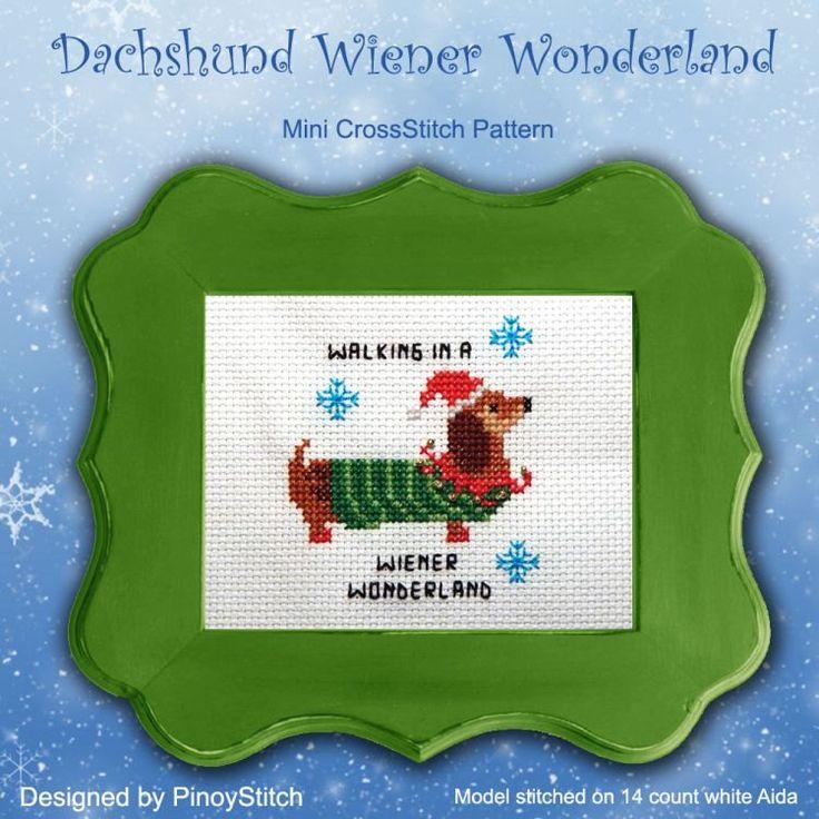 Our bestselling easy cross stitch chart! ★★★★★! https://www.pinoystitch.org/dachshund-wiener-wonderland-cross-stitch-pattern-pdf/ #etsy #supplies #christmas #crossstitch #pinoystitch #easycrossstitch #funcrossstitch #funnyquotes #sassyquotes #quickstitch
