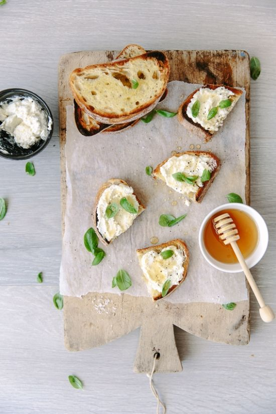 Lemon Ricotta Basil Bruschetta with Drizzled Honey.
