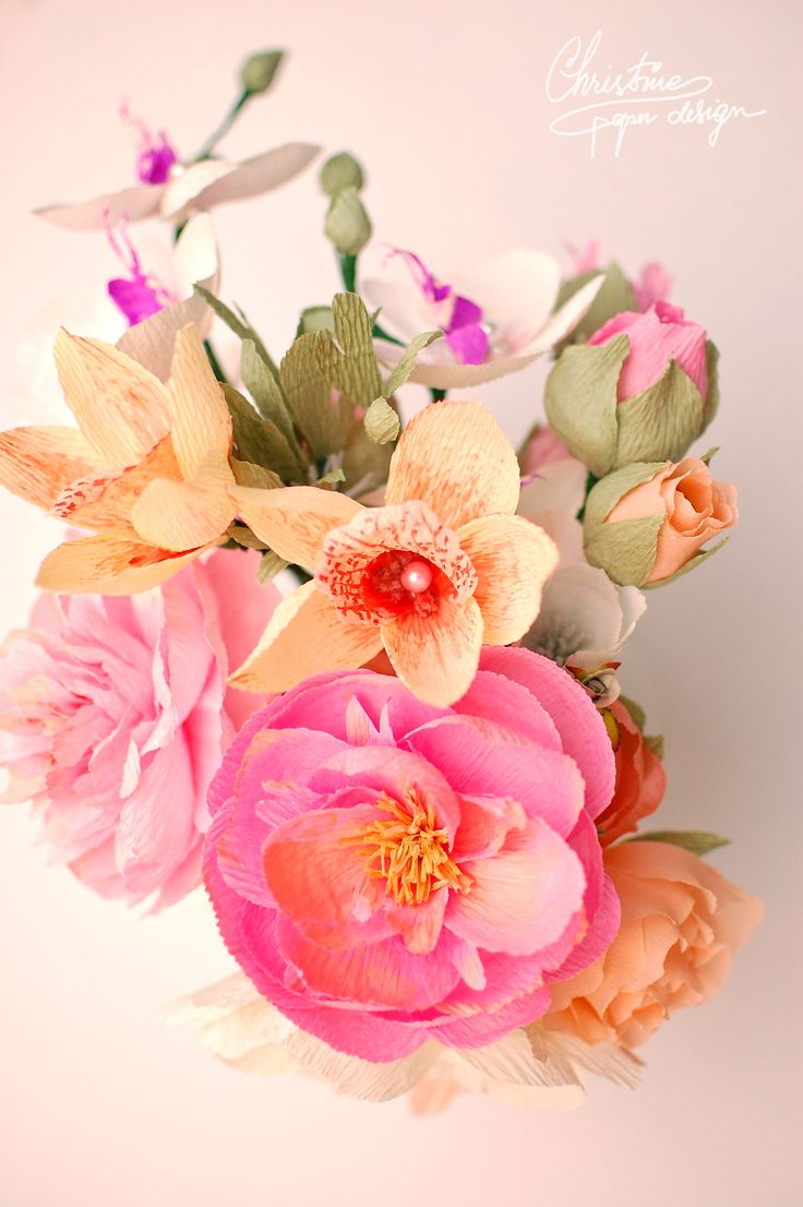 DIY paper flowers - paper peonies and orchids by Christine paper design.
