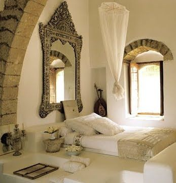 boho bedroom --love the mirror and the feel of this room!