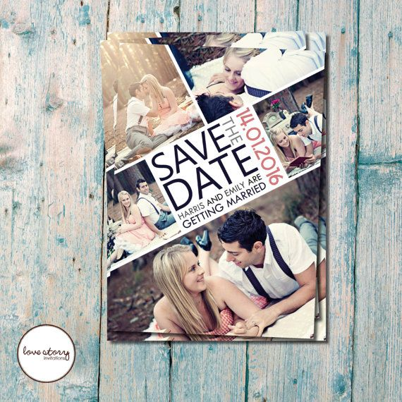Photo Save the Date / Photo Save the Date / Photo Collage Wedding / DIY Printable / Printed Invitations with free envelopes