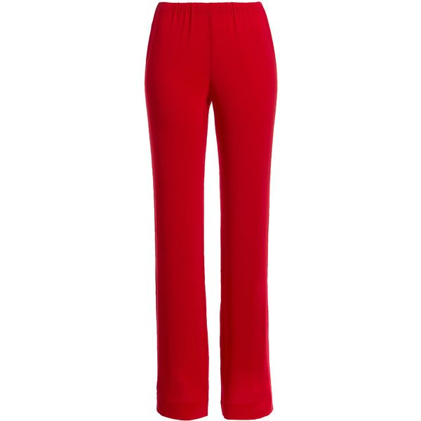 Donna Karan New York Stretch Crepe Pants ($490) ❤ liked on Polyvore featuring pants, trousers, bottoms, red, donna karan, elastic waist pants, relaxed pants, elastic waistband pants and tapered pants