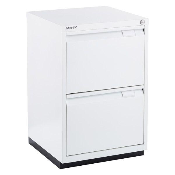 Bisley White Premium 2-Drawer Locking Filing Cabinet ...