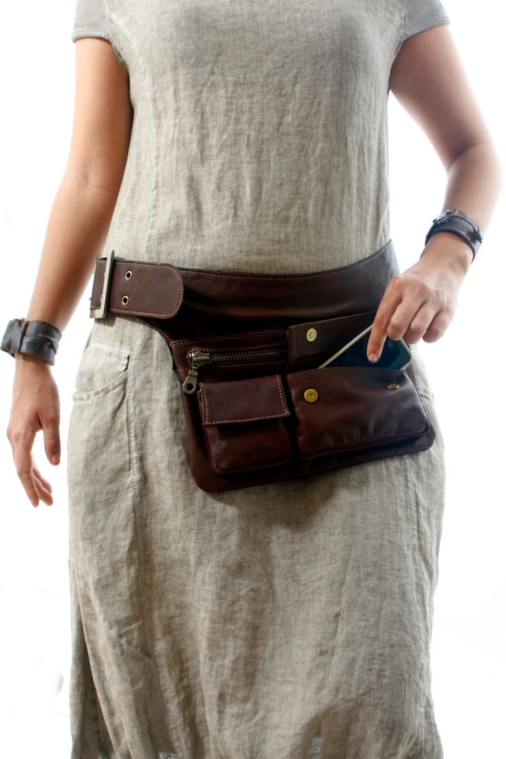 Brown Leather Hip Bag bum bag fanny pack travel pouch by RuthKraus
