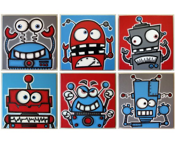 rObOts hAVE SiLLy tEETH - set of 6 12x12 original acrylic paintings on canvas ready to hang