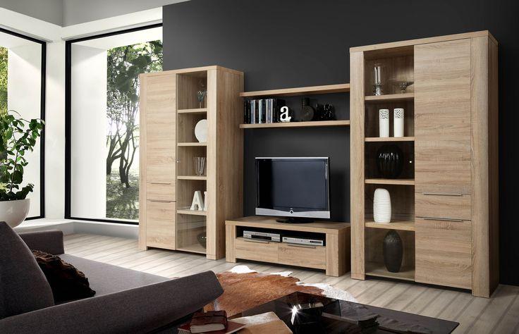 Elegante Wohnwand Carmen Wohnwand 4- teilig bestehend aus: 2 xVitrinen mit 2 Türen, 1 Glastür und 4 Einlegeböden pro Vitrine B/H/T111 x 196 x 50 cm 1 x TV- Unterschrank...