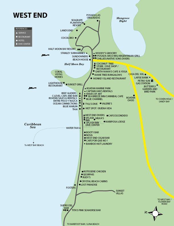 Roatan Maps, West End, West Bay Beach, Sandy Bay, Coxen Hole, French ...