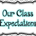 Chevron, Black, and Blue Class Expectation Posters ($)
