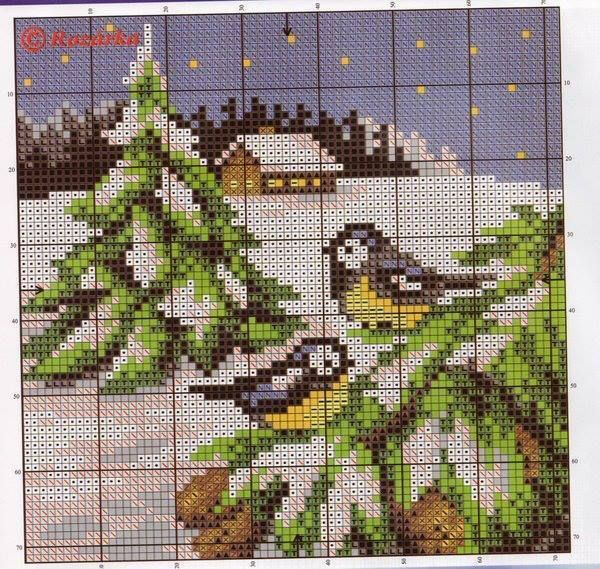 Cross-stitch Winter Scene ... no color chart available, just use pattern chart as your color guide.. or choose your own colors...     pajaritos